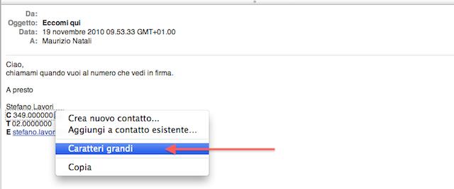caratteri grandi email