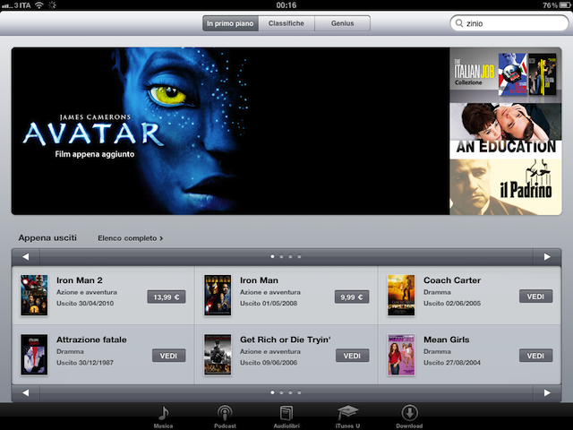 iTunes Movie Store iPad