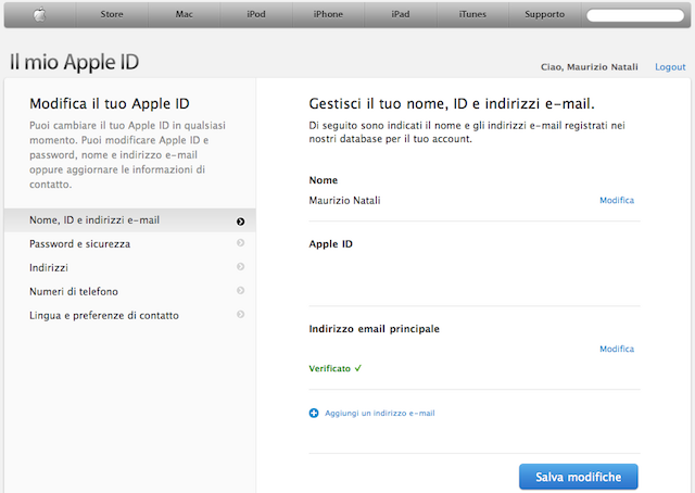 modifica email apple id