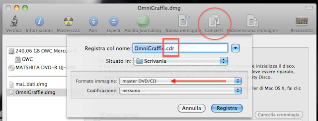 convertire dmg in iso su mac