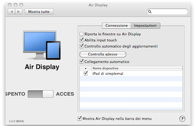 AirDisplay-Preferenze