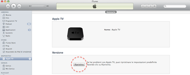 ripristinare apple tv