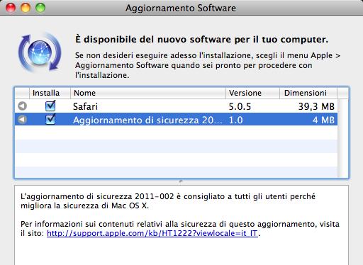 Aggiornamento sicurezza, Safari e Xcode