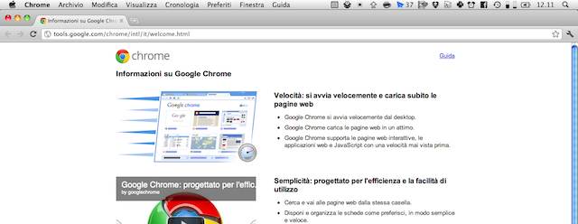 Screenshot di Google Chrome Canary in azione