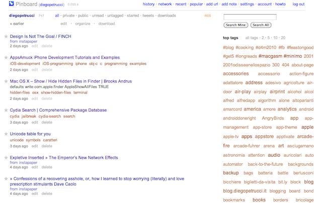 Pagina principale di Pinboard