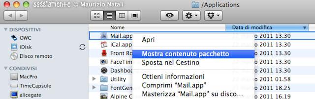 mostra contenuto pacchetto mail