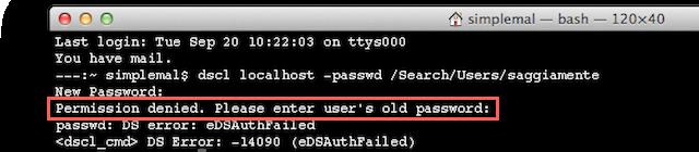 password-precedente