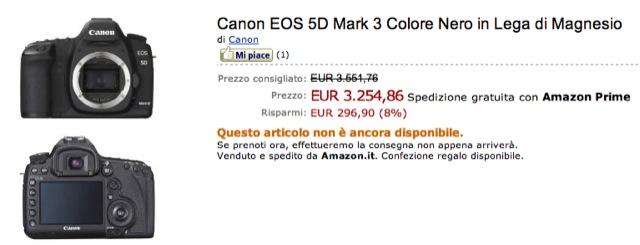 Offerta Canon 5D mark 3