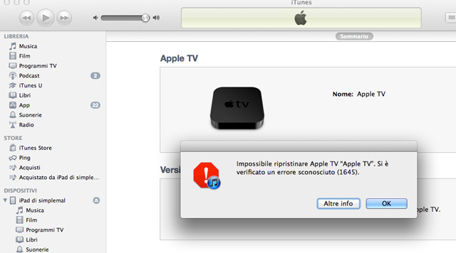 errore itunes durante installazione seasonpass su Apple TV 2G