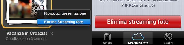 eliminare-photostream