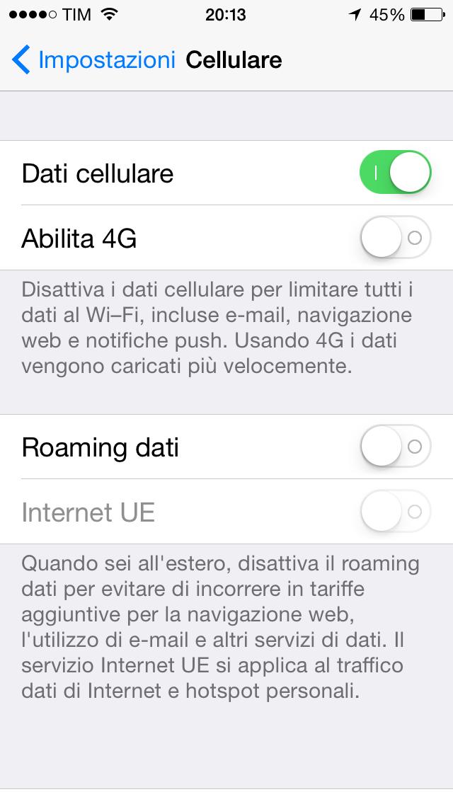 dati cellulare iphone estero
