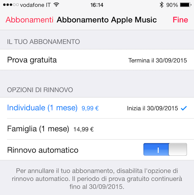 come disattivare apple music