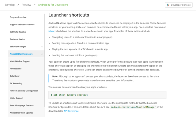 launchershortcutsdocumentazione