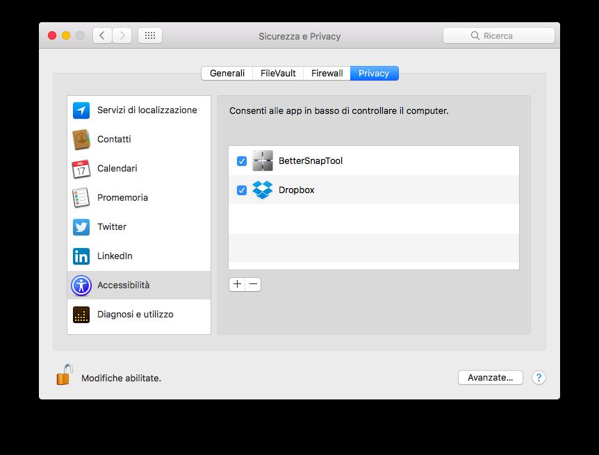 Dropbox, perché ti sei autorizzato al controllo del mio Mac?